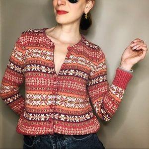 Vintage fair isle button cardigan knit sweater